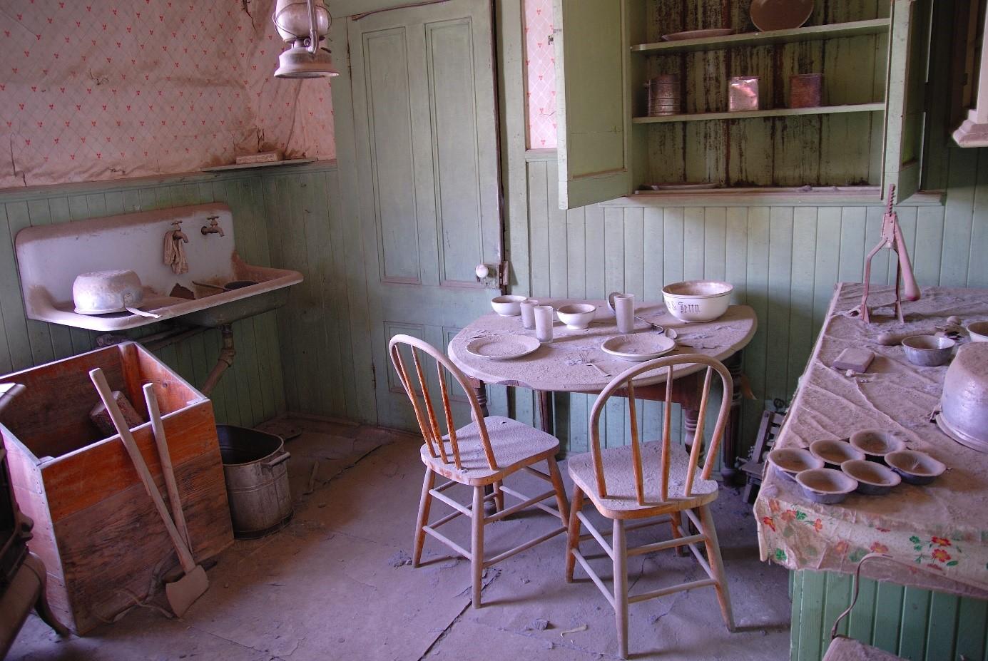 L'intérieur d'une maison à Bodie