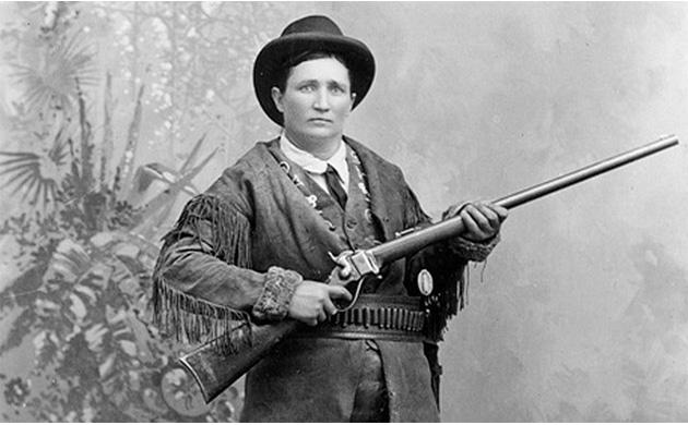 Portrait de Calamity Jane, fusil en main