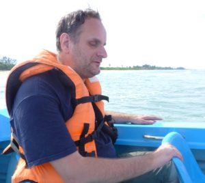 David à bord d'un bateau