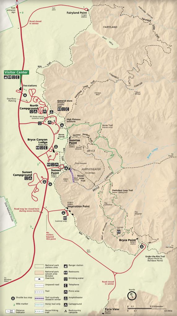 Plan d'accès à Bryce Canyon