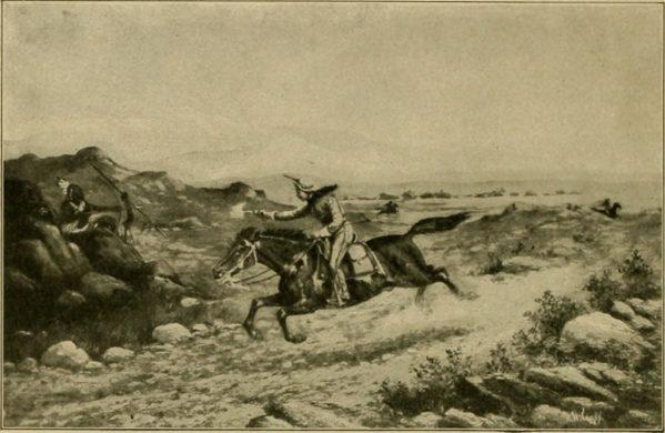 Un cavalier se défendant contre une attaque indienne
